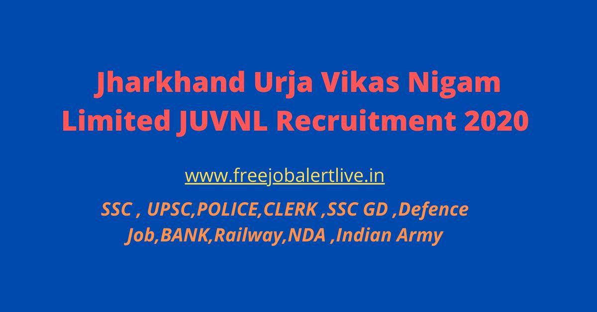 Jharkhand Urja Vikas Nigam Limited JUVNL Recruitment 2020