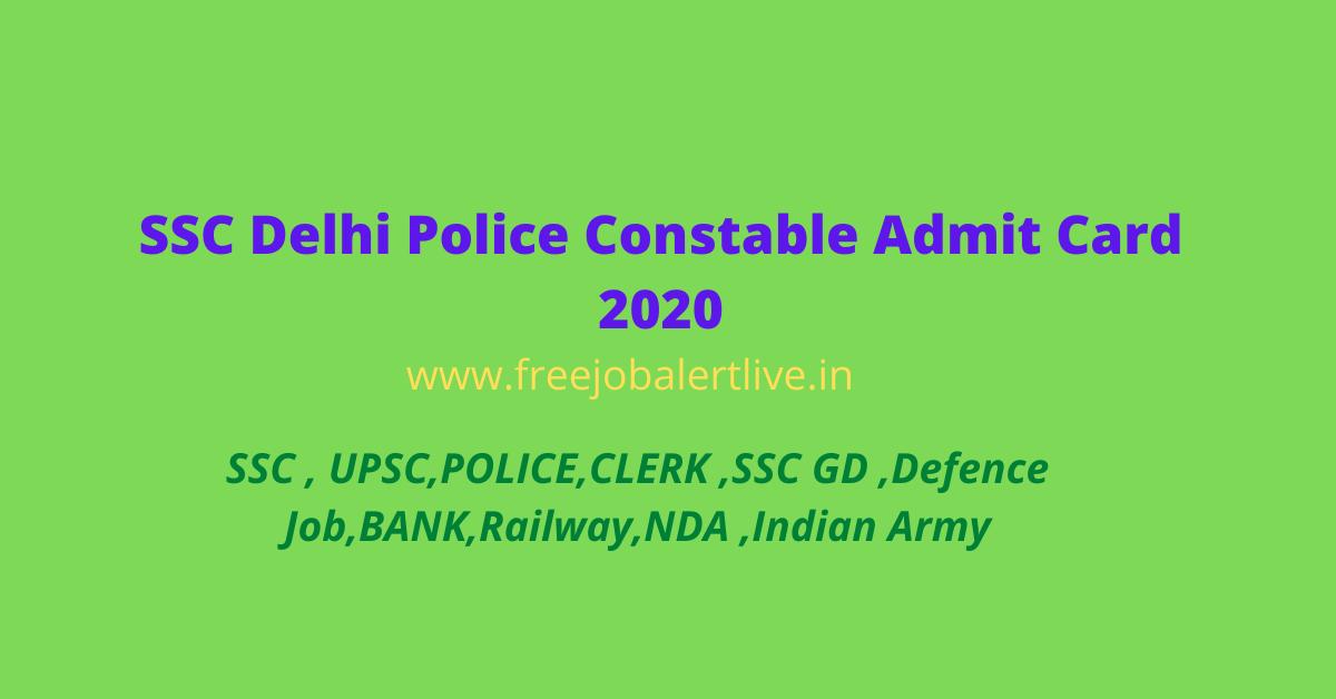 SSC Delhi Police Constable Admit Card 2020