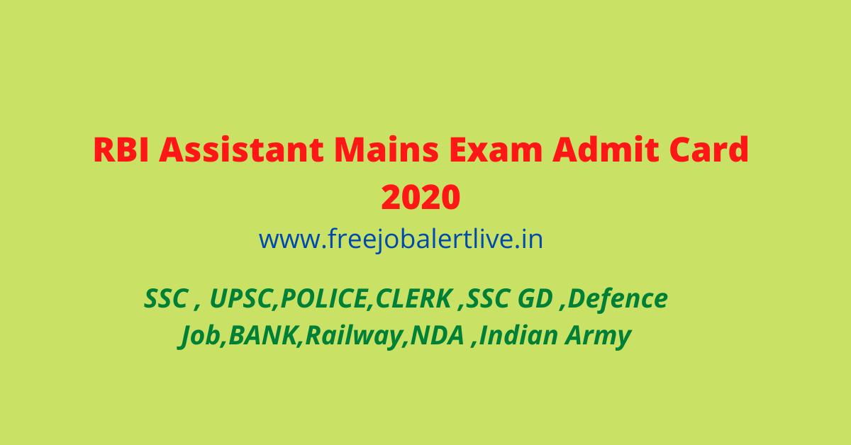 RBI Assistant Mains Exam Admit Card 2020