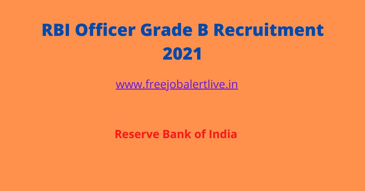 RBI Officer Grade B Recruitment 2021